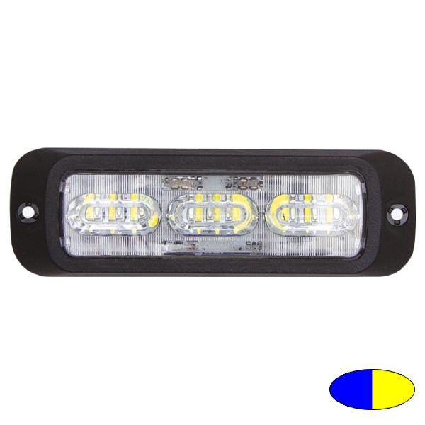 LED-Blitzleuchte BOLT2, 10-30VDC, Warnfarben Blau/Gelb, Haubenfarbe Klar