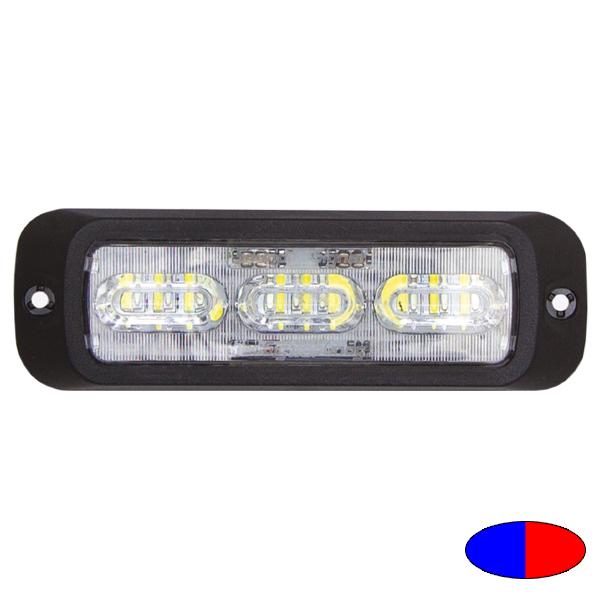 LED-Blitzleuchte BOLT2, 10-30VDC, Warnfarben Blau/Rot, Haubenfarbe Klar