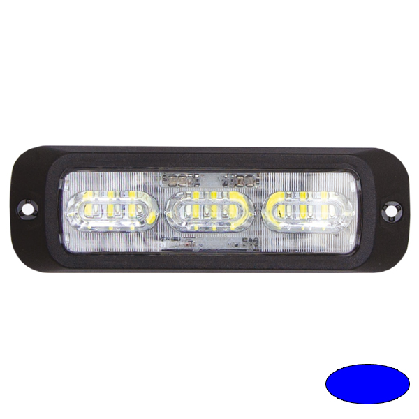 LED-Blitzleuchte BOLT2, 10-30VDC, Warnfarbe Blau, Haubenfarbe Klar