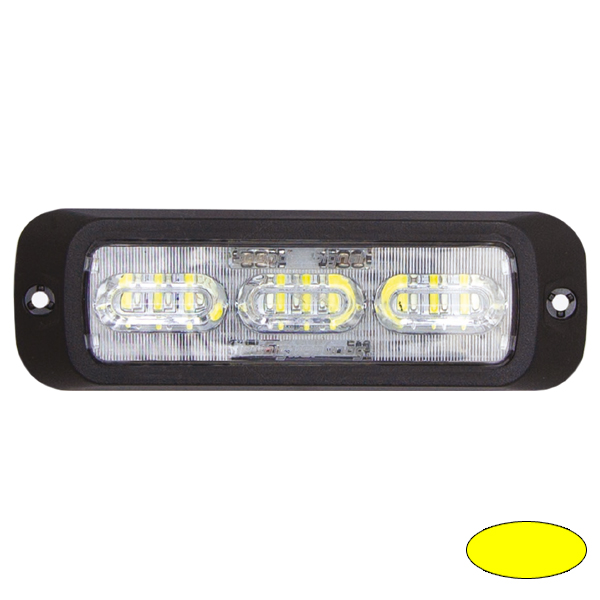 LED-Blitzleuchte BOLT2, 10-30VDC, Warnfarbe Gelb, Haubenfarbe Klar
