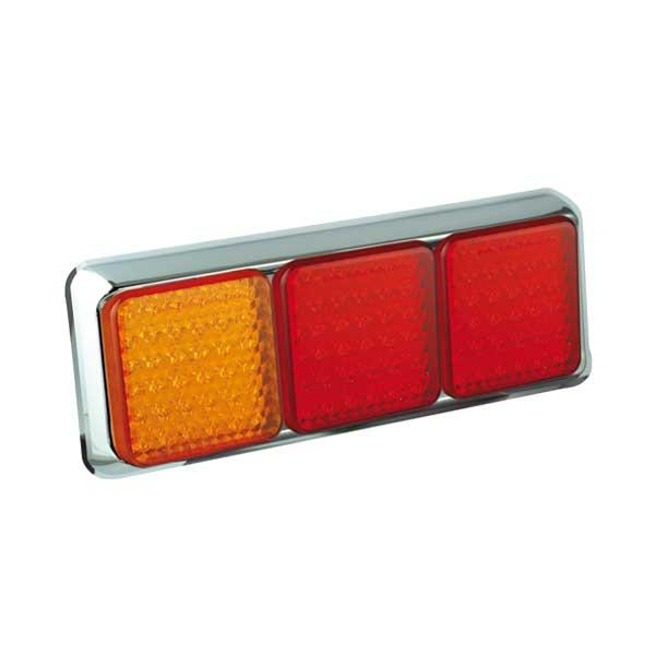 100CARRME LED-Leuchtenkombination, Stop/Schlusslicht/Fahrtrichtungsanzeiger, Montagerahmen chrom