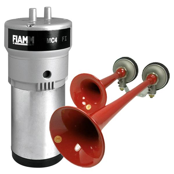 FIAMM FANFAREN-Set, Sondersignal Rettung-Ö, 12VDC, Kompressor, Daueröler, 2 Fanfaren, Schneefänger
