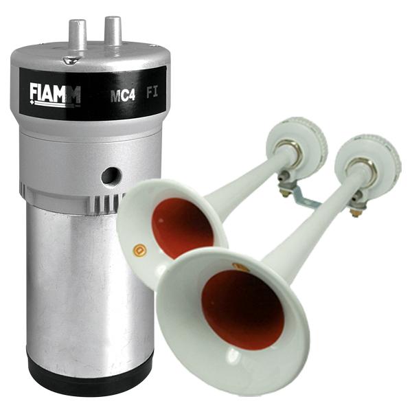 FIAMM FANFAREN-Set, Sondersignal Feuerwehr-Ö, 24VDC, Kompressor, Daueröler, 2 Fanfaren, Schneefänger