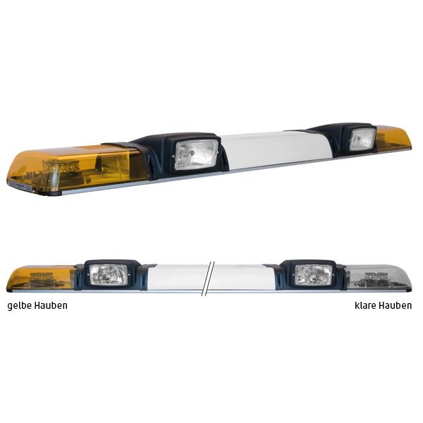 XPRESS 2ELP360-2H3, L=149cm, 12VDC, Warnfarbe gelb, Haubenfarbe klar, Schild 52cm, 2x H3-Scheinwerfer
