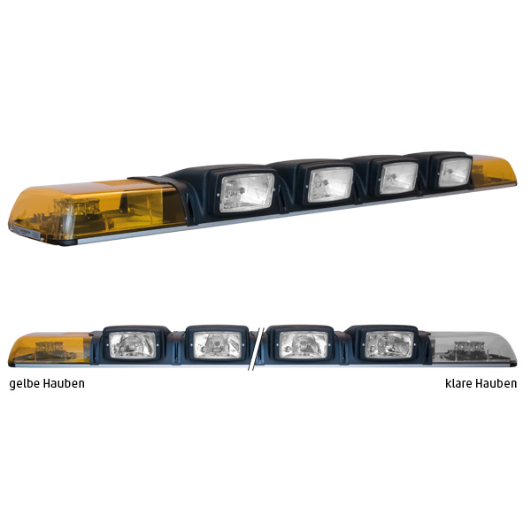 XPRESS 2ELP360-4H3, L=149cm, 12VDC, Warnfarbe gelb, Haubenfarbe klar, 4x H3-Scheinwerfer