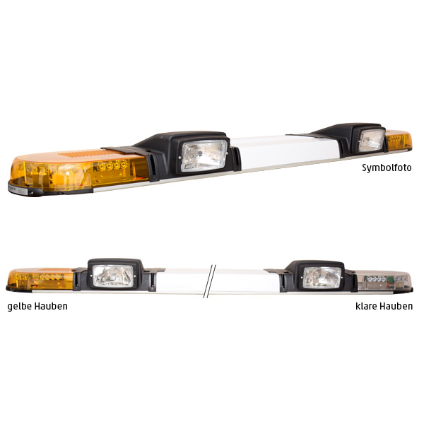 XPERT 2ELP360-2H3, L=153cm, 24VDC, Warnfarbe gelb, Haubenfarbe klar, Schild 36cm, 2x H3-Scheinwerfer