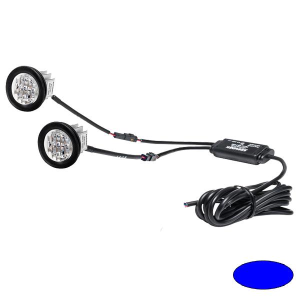"BL88-E ""BULLS EYE TWIN"", 10-30VDC, Warnfarbe blau, 2 LED-Köpfe mit gemeinsamer Steuerelektronik"