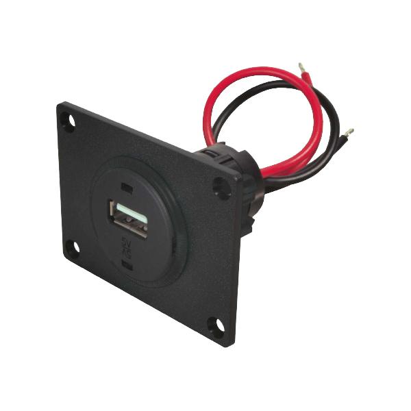 USB Einbausteckdose, 12VDC/5VDC/1000mA
