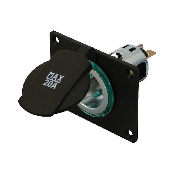 Powersteckdose, 10-30VDC/20A, mit Spannhülse grün