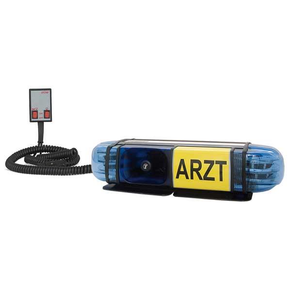 "PICCOLINO, 12VDC, Warnfarbe blau, Beklebung ""ARZT"", 2 DS6 LED-Module, Rettung-Ö, Magnethalterung"