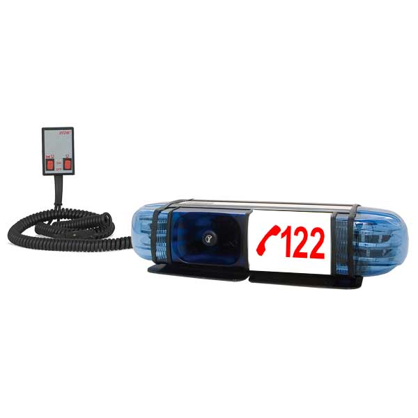 "PICCOLINO, 12VDC, Warnfarbe blau, Beklebung ""122"", 2 DS6 LED-Module, Feuerwehr-Ö, Magnethalterung"