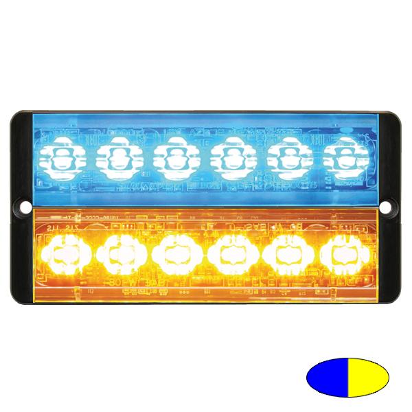 SLIMLINE E52-10016-D-EAB, 10-30VDC, 2x6 3W-LEDs, Warnfarben blau/gelb
