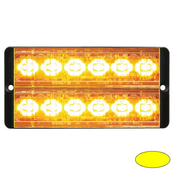 SLIMLINE E52-10016-D-EAA, 10-30VDC, 2x6 3W-LEDs, Warnfarbe gelb/gelb