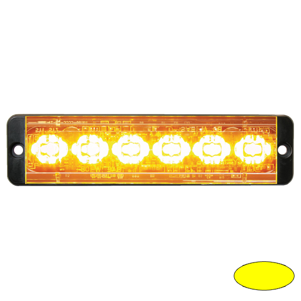 SLIMLINE E52-10016-EA, 10-30VDC, 6x 3W-LEDs, Warnfarbe gelb