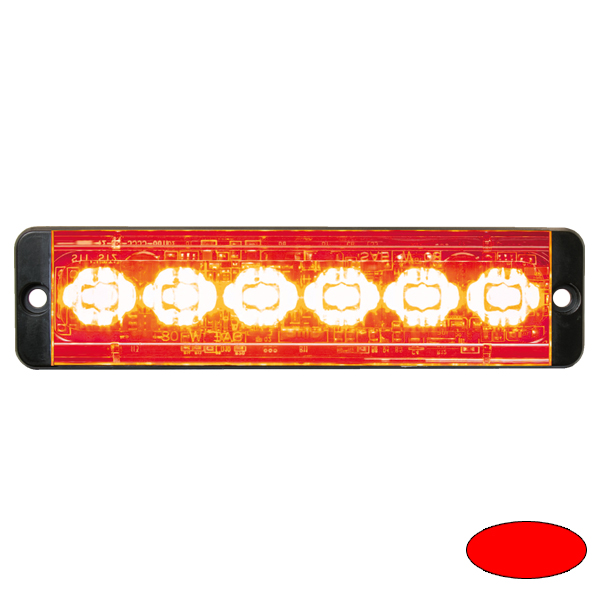 SLIMLINE E52-10016-R, 10-30VDC, 6x 3W-LEDs, Sonderfarbe rot